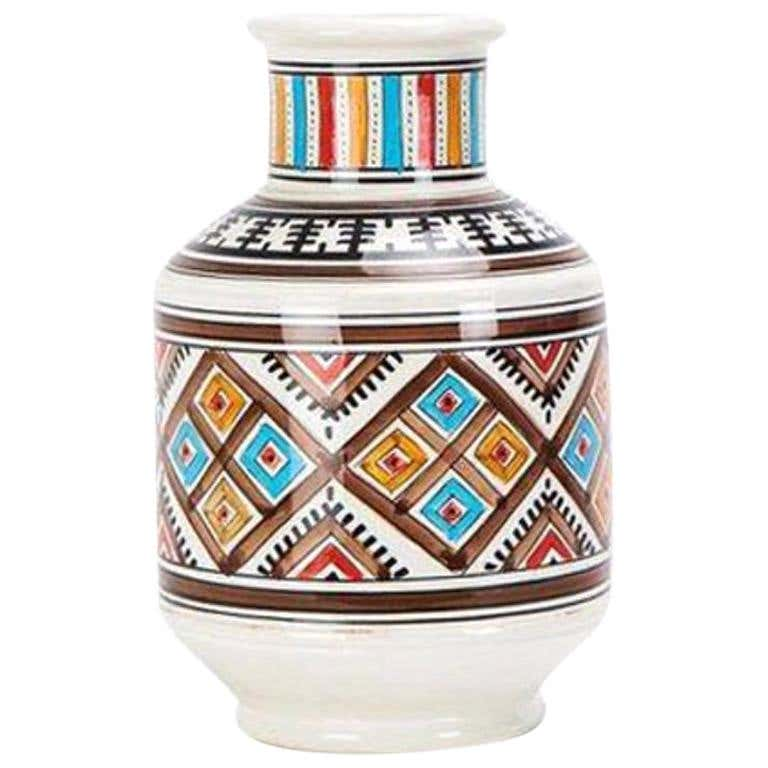 Hand Painted Tribal Ceramic Vase from 1stDibs