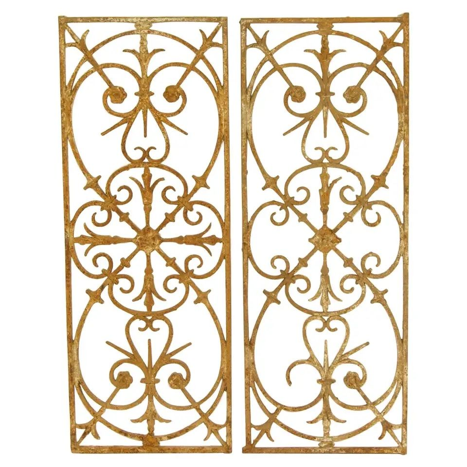 Pair of 18th Century Louis XVI Wrought Iron Fence Elements or Window Grills from 1stDibs