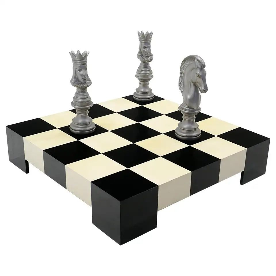 Milo Baughman Black & White Checkerboard Coffee Table from 1stDibs