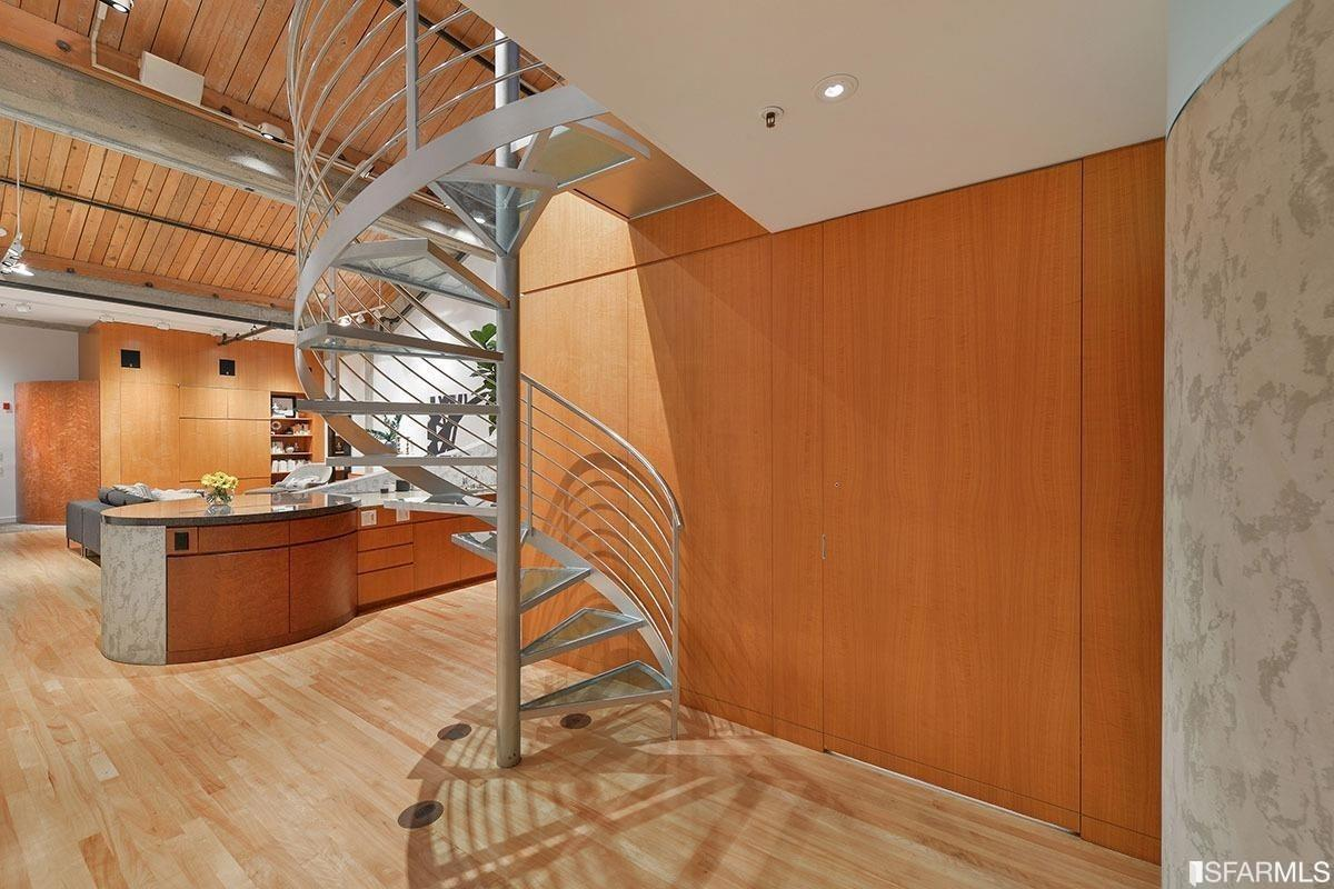 SF Loft Apartment with Sawtooth Roof - Mezzanine Spiral Staircase
