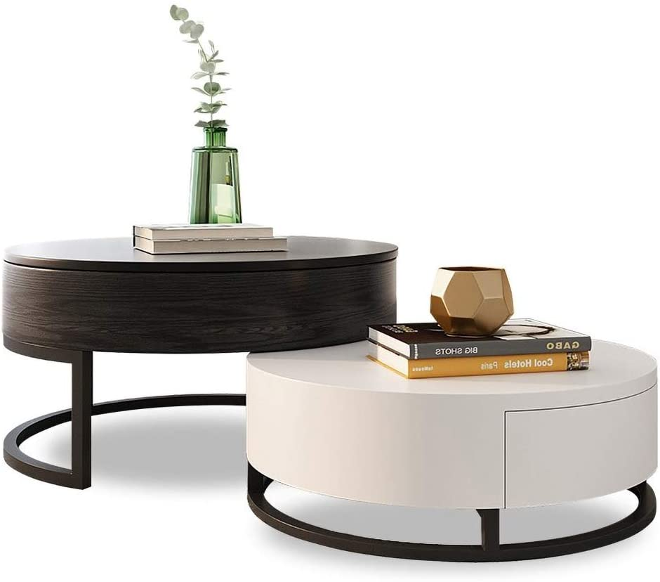 Homary Round Coffee Table Storage Lift-Top with Rotatable Drawers from Amazon