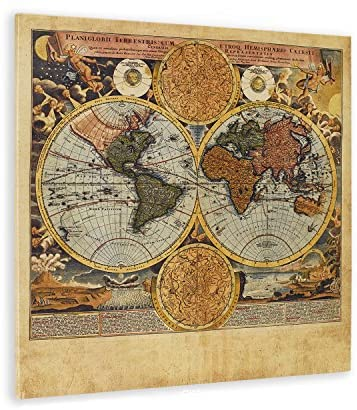 WallDeco Unique Vintage World Map Wall Art from Amazon