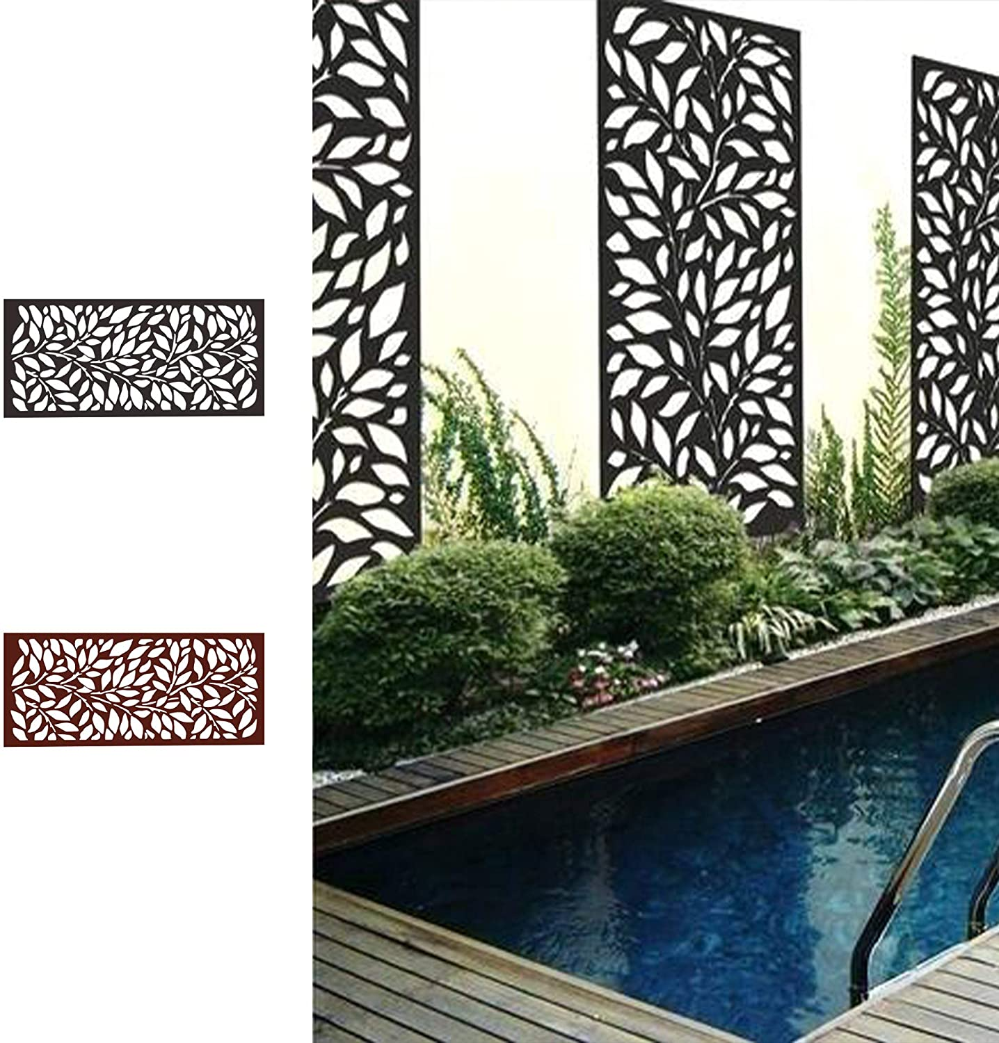 Decorative Laser Cut Metal Privacy Screen Outdoor Divider with Stand from Amazon