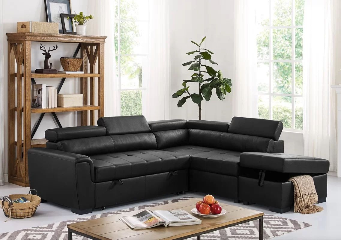 Menomonie Faux Leather Sleeper Sectional with Ottoman from Wayfair