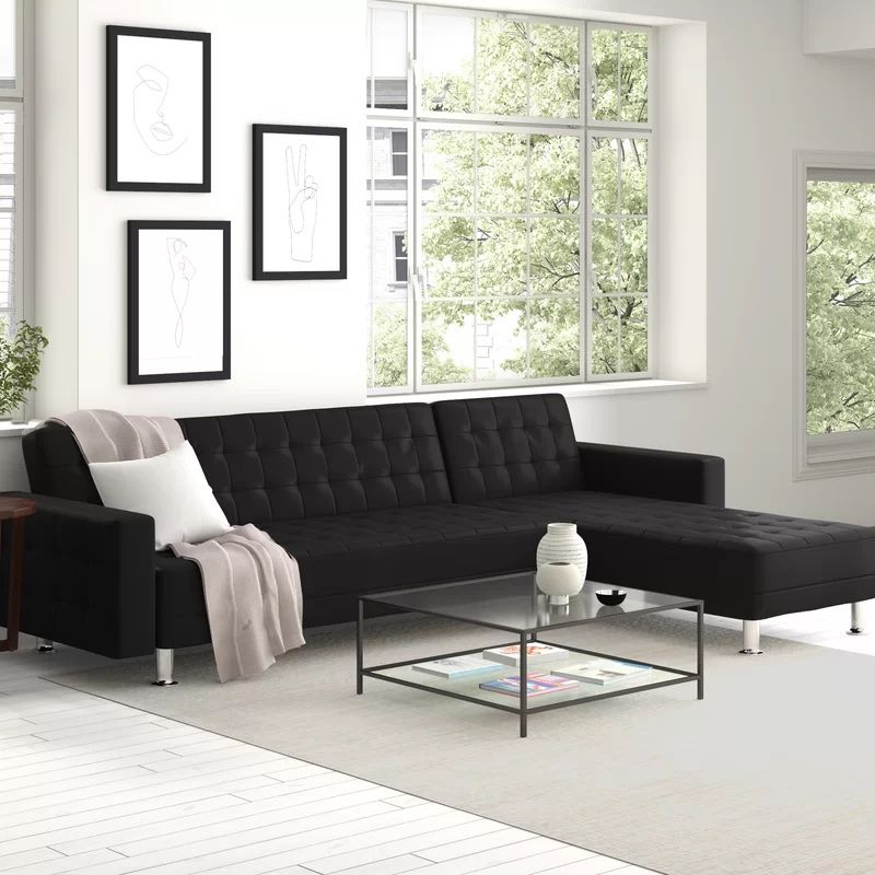 """Rosina 118.12"""" Wide Faux Leather Reversible Sofa and Chaise from Wayfair"""