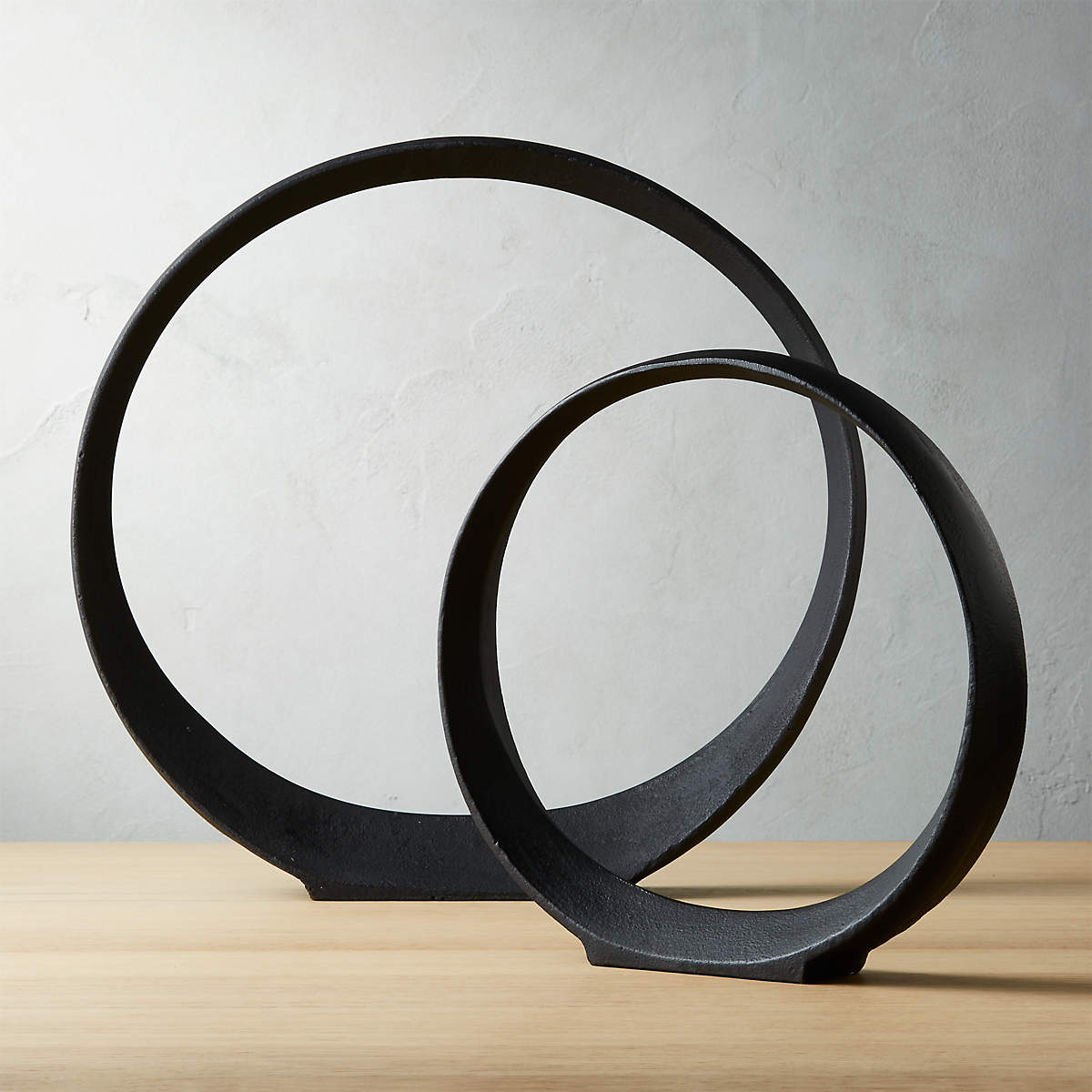 Large metal ring sculpture set from CB2