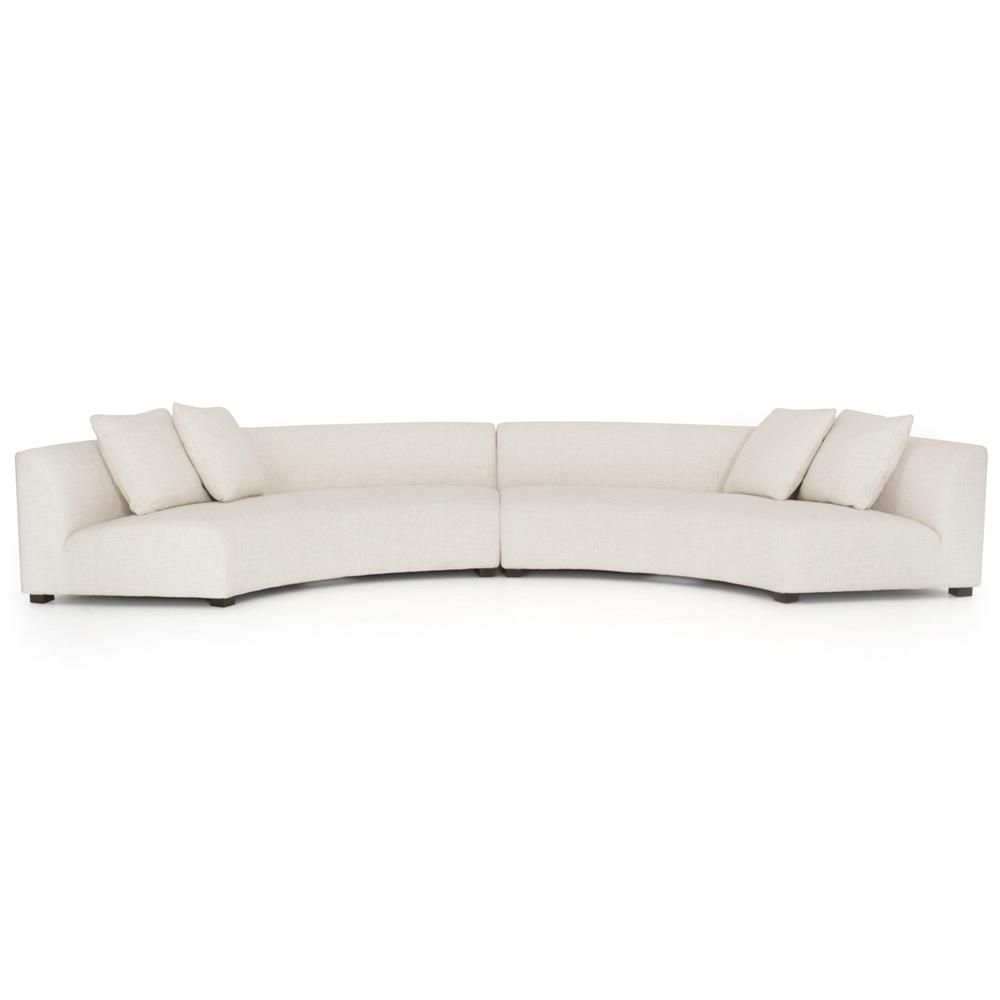 Classic Curved Crescent Shape Cream Upholstered 2 Piece Sectional from KathyKuo
