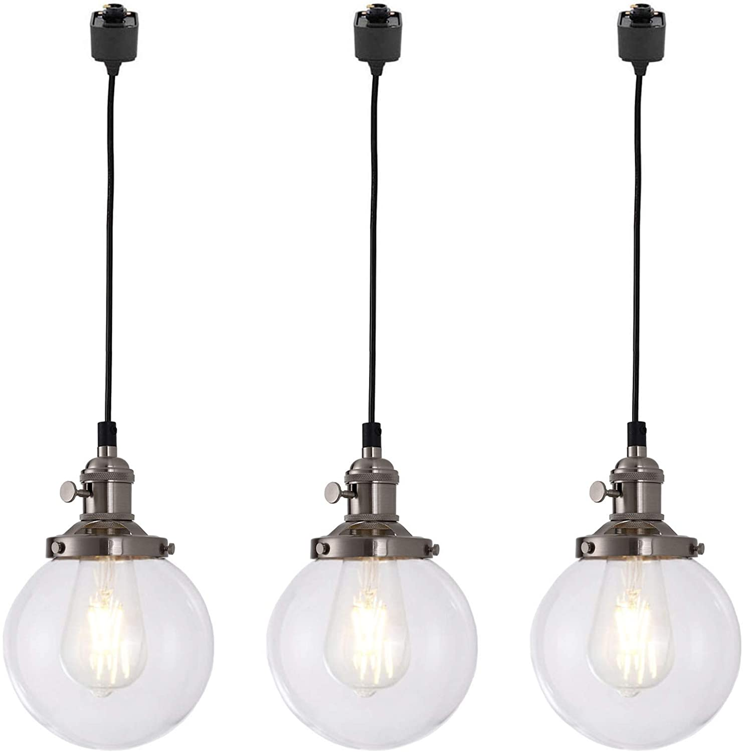 """Kiven 3 Lights H-Track Lighting Pendant, Vintage Industrial Pendant Light Fixture with 5.9"""" Handmade Globe Clear Shade (Brushed Steel) from Amazon"""