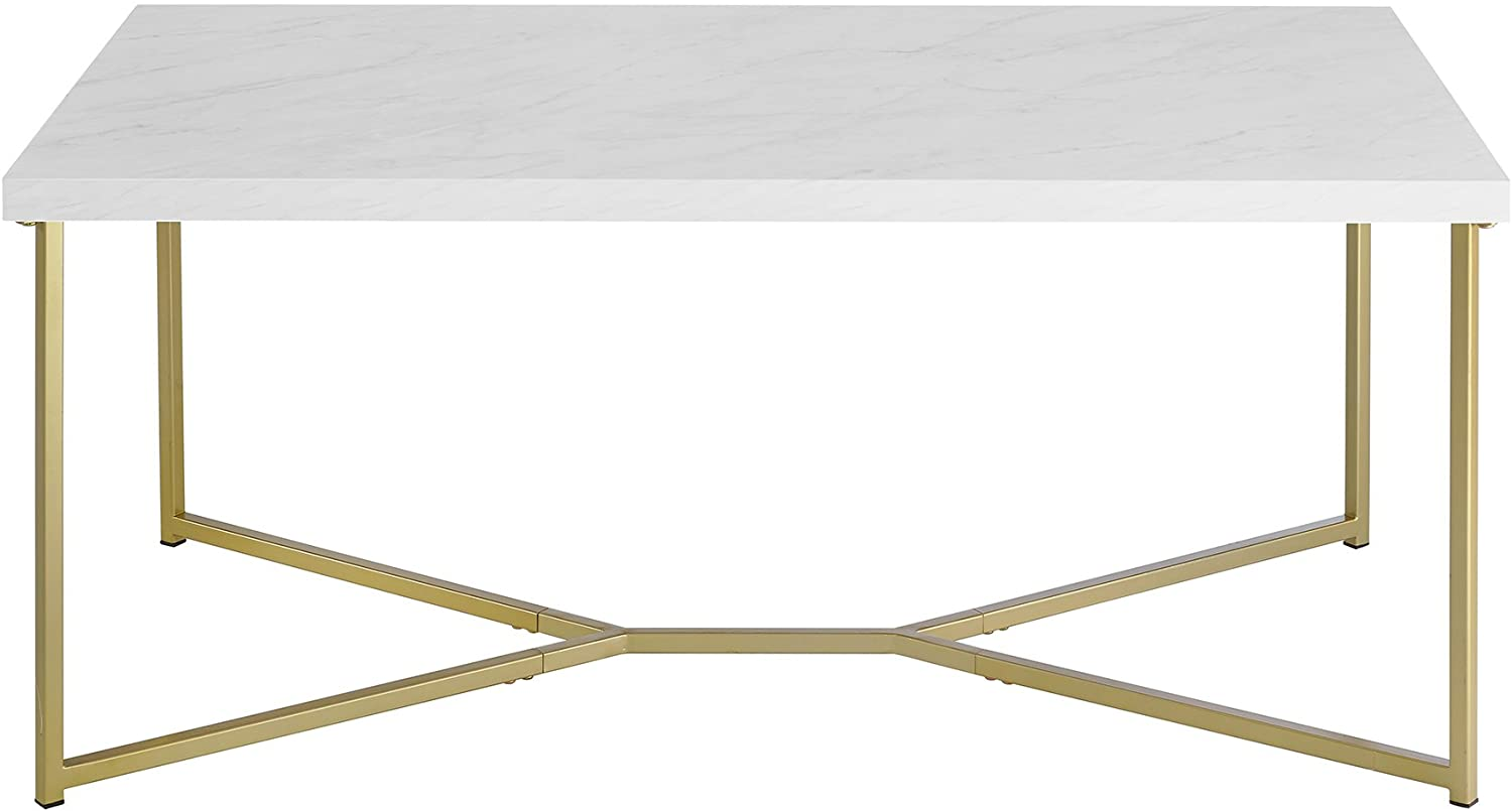 Walker Edison Marble Gold Mid Century Modern Rectangle Coffee Table from Amazon