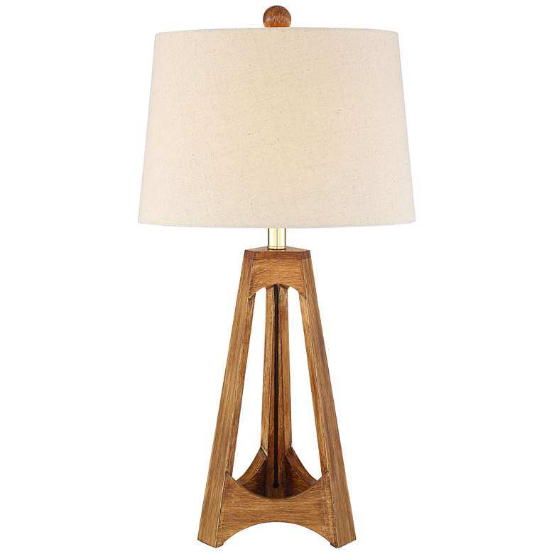 Archie Wood Finish Mid-Century Modern Table Lamp from LampsPlus