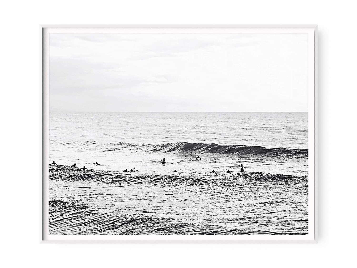 Black and White Hawaii Surf Poster | Vintage Ocean Waves Surfing Photo Print from Amazon