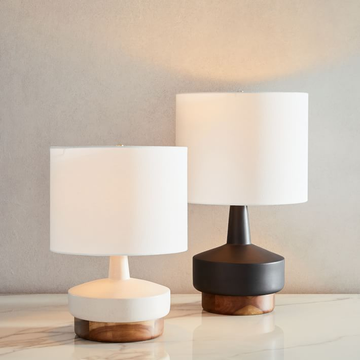 Wood + Ceramic Table Lamp, Small, White, Individual from West Elm