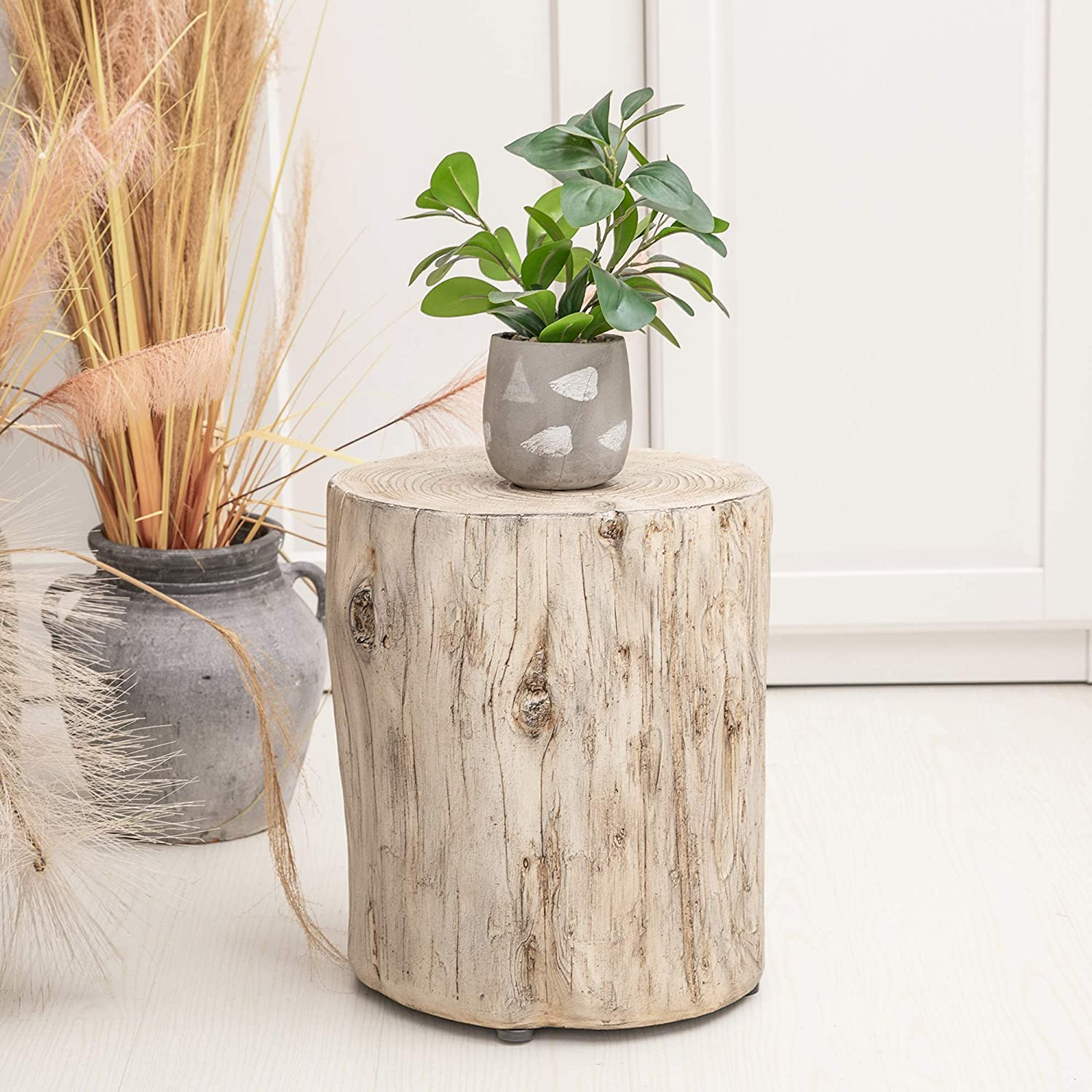 Ball & Cast Faux Wood Stump Accent Table, Grey white from Amazon