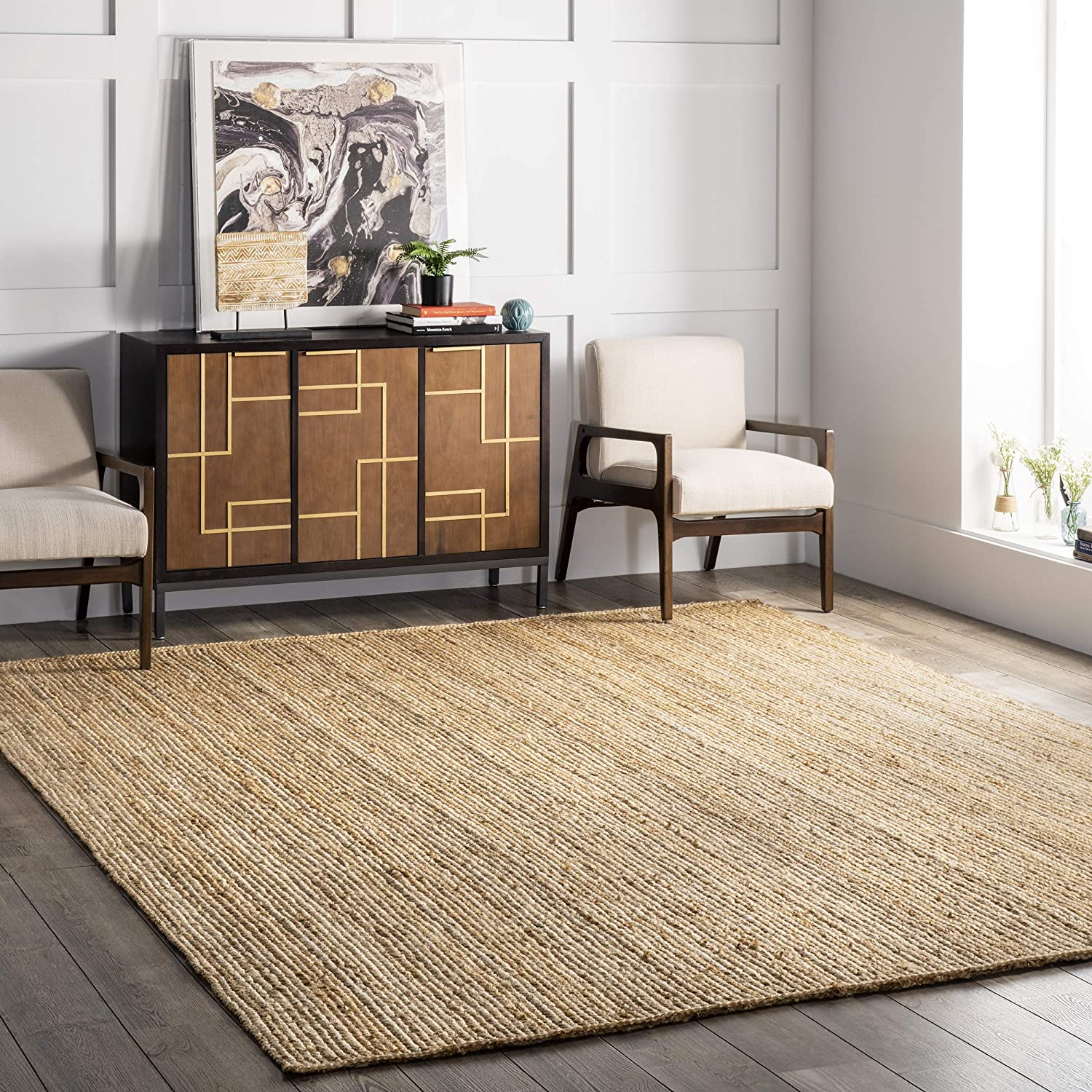 nuLOOM Rigo Hand Woven Jute Area Rug, 5' x 8', Natural from Amazon
