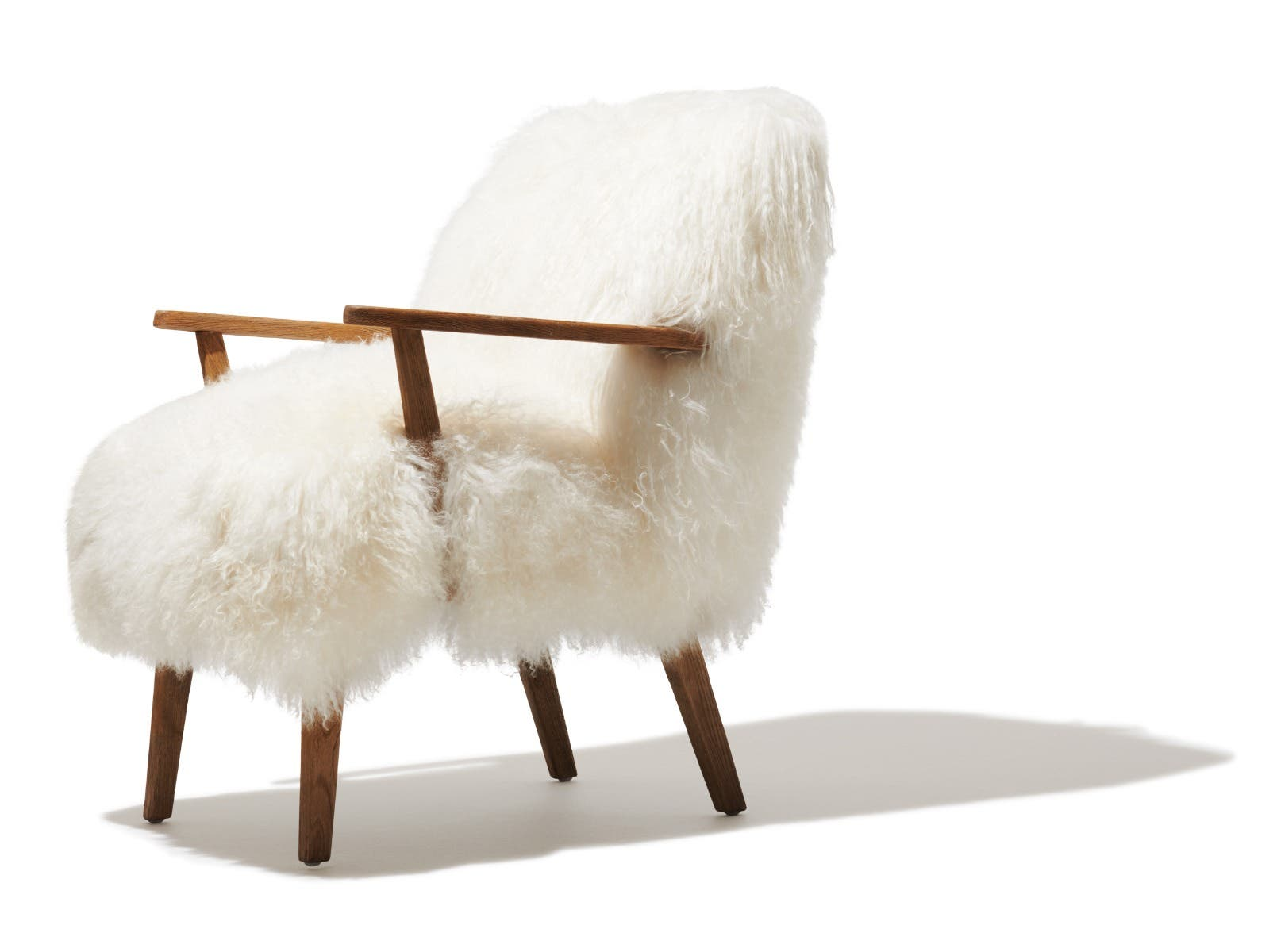 Oakwood and fur chair from Industry West