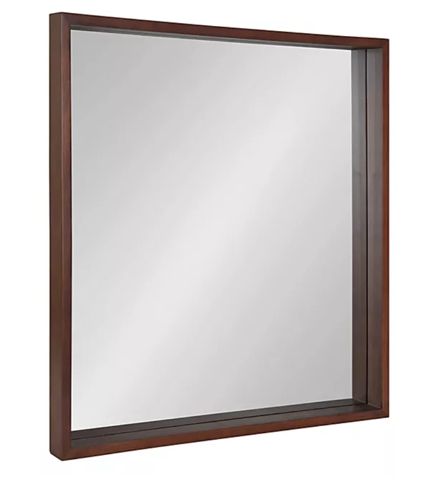 Kate & Laurel™ Hutton 30-Inch Square Wall Mirror in Walnut/Brown from Bed, Bath & Beyond
